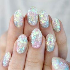 Pastel glitter stars nails