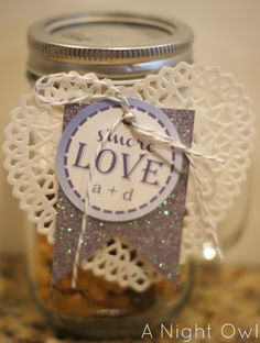 cute Wedding Shower or casual Wedding take home gift -- S'more Love in a Jar