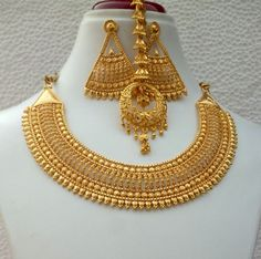Indian Gold Plated Bridal Necklace 'Pendant Earrings Variations S Gold Bangles Design, Gold Earrings Designs, Gold Jewellery Design, Necklace Designs, Gold Jewelry, Ruby Jewelry, Gold Set Design, Fine Jewelry, Flower Jewelry
