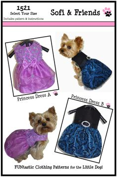 Dog Clothes Sewing Pattern 1521 Princess Dog by SofiandFriends