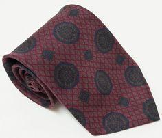 Lanvin Paris Silk Geometric Victorian Seal Diamonds Mens Tie Necktie Made Italy #Lanvin #NeckTie