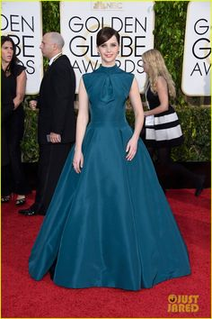 Felicity Jones wearing a Christian Dior gown at the 2015 Golden Globes, 11 January 2015. This is a go big or go home dress, and she went big. I love it.