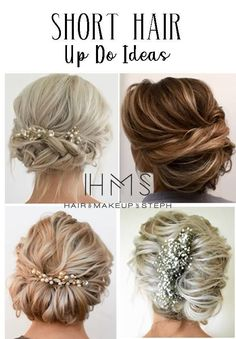 Short hair updo ideas - All For Bride Hair Style Prom Hair Updo, Short Hair Updo, Short Wedding Hair, Wedding Updo, Short Hair Styles, Short Prom, Sholder Length Hair Styles, Shoulder Length Hair, Fancy Hairstyles