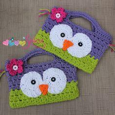 Girly Owl Purse - Crochet Owl Bag - Small Crochet Handbag - Child Size Purse - Little Girls Purse - Owl Party Favor Bag - Girls Owl Purse