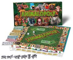 WildAnimalOpoly is a game where players are Caretakers of animals, collecting land, water, food and clean air. The goal: create Habitats where animal can survive on their own. Animal Certificates have fun facts about animals: Did you know flamingos are pink because they eat shrimp? That Polar Bears have pitch black skin? http://www.solarflairlighting.com/content-product_info/cat-231/product_id-2627/wildanimalopoly_buy_2_and_save.html