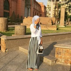 Striped maxi skirt - check out: Esma Islamic Fashion, Muslim Fashion, Modest Fashion, Abaya Fashion, Skirt Fashion, Fashion Outfits, Women's Fashion, Eid Outfits, Modest Outfits