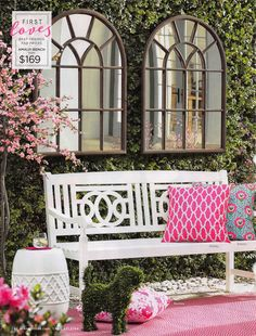 """""""As featured in HGTV Magazine, our customer-favorite Amalfi bench is an inviting sight (and seat) at any threshold. At this price, you'll want to add one in the garden and on the balcony, too. Garden Mirrors, Garden Windows, Outdoor Spaces, Outdoor Living, Outdoor Decor, Home Renovation, Porches, Patio Design, Backyard Designs"""