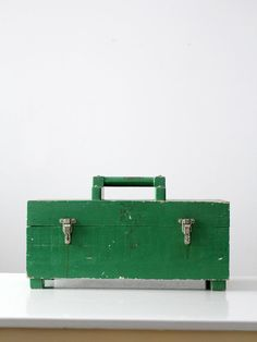 I'll have a grass cake with a side of Blue Sky Please Free Standing Shelves, Tackle Box, Painted Boxes, Vintage Wood, Tool Box, Home Projects, Grass Cake, Tools, Green