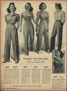 ladies trouser styles from Sears Vintage Catalog. Fashion/ Style ladies trouser styles from Sears Vintage Catalog. Vintage Outfits, 1940s Outfits, Mode Outfits, Vintage Dresses, Vintage Clothing, Vintage Wardrobe, Retro Outfits, Floral Dresses, Look Fashion