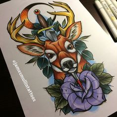 #tattoo #neotraditional #copicmarkers #deertattoo
