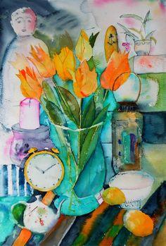 Tulips original watercolor 12'' x 18'' / 31 by Achillesoriginalart