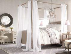 Dormitorio romántico, tonos neutros para la ropa de cama