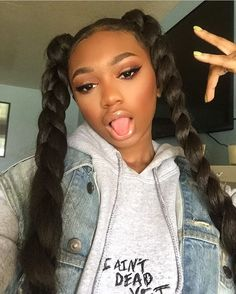 Two Cute Ponytail Hairstyle Black Girls Will Love Braided Ponytail Hairstyles, Ponytail Styles, Baddie Hairstyles, Black Girls Hairstyles, Weave Hairstyles, Pretty Hairstyles, Curly Hair Styles, Natural Hair Styles, Ponytail Bun