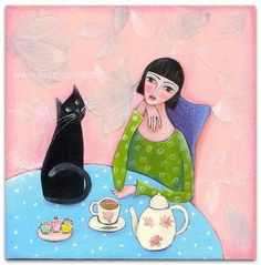 Colourful dreamlike world, paintings by Tiziana Rinaldi - Ego - AlterEgo Black Cat Images, Black Cat Art, Cat Drawing, Painting & Drawing, Illustrations, Illustration Art, Cat Cards, Naive Art, Crazy Cats
