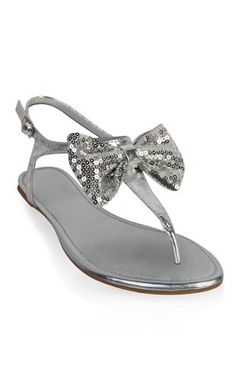 metallic sandal with sequin bow