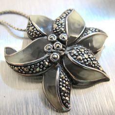 Vintage Sterling Marcasite Enamel Necklace by TonettesTreasures