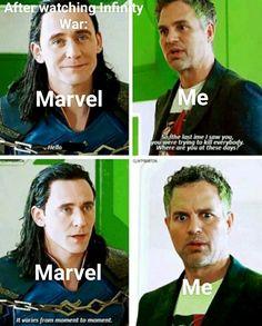 Bruce Banner and Loki moments in (Thor Ragnorok) Funny Marvel Memes, Dc Memes, Avengers Memes, Marvel Jokes, True Memes, Loki Thor, Marvel Dc Comics, Marvel Avengers, Loki Laufeyson