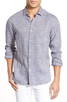 This chambray fit sport shirt will have Dad looking sharp for date night with Mom.