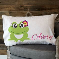 Girls Minky Frog Name Pillowcase