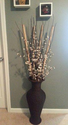 Bamboo from Dollar Tree, black wood wavy sticks from IKEA