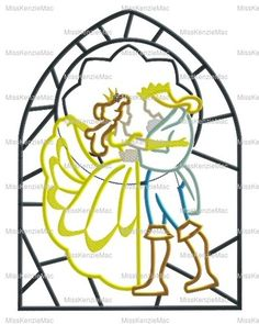 Beauty Princess and Adam Stained Glass Panel Machine Applique Embroidery Design