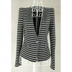 Cheap Wholesale Delicate Color Matching Stripe Design One Button Plunging Neck Long SLeeves Women's Blazer (BLACK,M) At Price 6.71 - DressLily.com