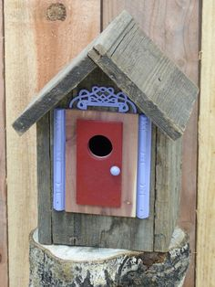 Birdhouse Handcrafted Cedar with Whimsical painted details by 3FeatheredFriends on Etsy