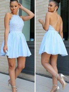 Blue Formal Dresses Short Prom Dresses For Teens, Lace Cocktail Dresses Open Back, A Line Party Dresses Halter Cheap Semi Formal Dresses, Vintage Homecoming Dresses, Inexpensive Prom Dresses, Dresses Short, Cheap Dresses, Chiffon Dresses, Graduation Dresses, Freshman Homecoming Dresses, Mini Dresses