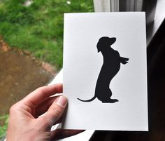 Dachshund  Handcut Silhouette Mounted on 5 x 7 by elizaBcrafts, $15.00