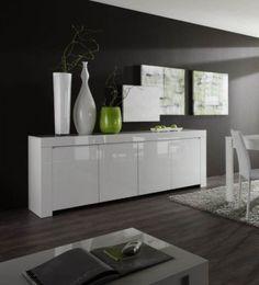 Buffet bahut suspendu blanc laqué design TYLER | Buffet-bahut ...