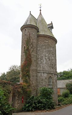 Trelissick Water Tower, Feock, Truro, Cornwall, England. I drive past this on my way to work at St. Mawes Castle. A real fairytale tower.
