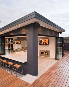 It was all a dream! Backyard Cabana of my dreams. It was all a dream! Backyard Cabana of my dreams. Rooftop Design, Terrace Design, Modern Garden Design, Deck Design, Modern House Design, Backyard Patio Designs, Backyard Landscaping, Backyard Cabana, Patio Ideas
