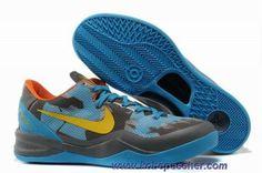 best sneakers 258b6 5d44b Pas Cher Gris Bleu Jaune Nike Zoom Kobe VIII 8 Sport Nike, Kobe Shoes,
