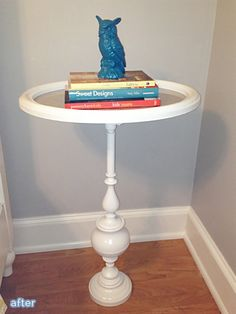 Genius idea! Turn a picture frame and lamp base into a side table! Featured on http://betterafter.net
