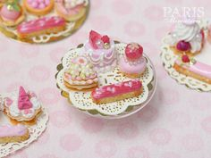Display of Four Pink French Pastries (Princess Religieuse, Eclair, Rose Petal Genoise etc) - Tiny Miniature Food in 12th Scale for Dollhouse