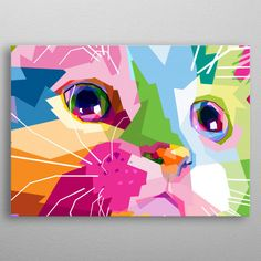 tuval resimleri akrilik pop art close up of cute cat on wpa pop art metal poster Arte Pop, Colorful Animal Paintings, Happy Paintings, Cat Colors, Wall Art Designs, Print Artist, Geometric Art, Art Techniques, Cool Artwork