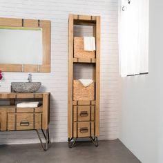 meuble double sous vasque loft mindi et métal 160 blanc | meuble ... - Salle De Bain Style Loft