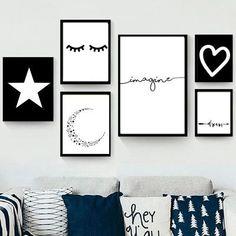 Set de 6 cuadros modernos - Blanco y Negro - Hoku Deco Creative Wall Decor, Creative Walls, Deco Tumblr, My Room, Girl Room, Room Wall Decor, Bedroom Decor, Nursery Decor, Deco Rose