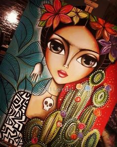 Romina Lerda Abstract Face Art, African Art Paintings, Frida Art, Amazing Street Art, Popular Art, Arte Pop, Love Painting, Whimsical Art, Indian Art