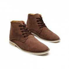 $24.19 Casual Laconic Men's Boots With Solid Color Suede Korean Style Lace-Up Design