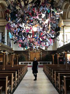 Arabella Dorman's work 'Suspended' highlights the plight of refugees. Guerrilla Girls, Textile Artists, Installation Art, In This World, Modern Art, Fine Art, Wall Art, Theme Ideas, Holiday Decor