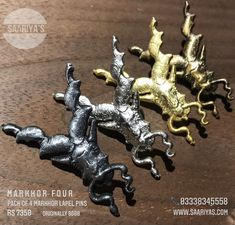 Markhor Four Discount Pack Rs.7350 (Originally 8000) Whatsapp 03338345558 Outstanding Saving Pack Includes ::: Markhor Northern Command Ash 2050 Markhor Siachin Frosted Silver 1950 Markhor Matt Golden 1900 Markhor Antique Golden 1900 Increase your Collection 4 Main Shades of Original Saariya's Markhor Color Platings | Best for Gifts | Collect Who is Markhor? Markhor is the national animal of Pakistan. 'Unverified legends' from centuries reveal that Markhor defends from bad,evil omen.It was National Animal, Pin Badges, Lapel Pins, Dog Tags, Frost, Lion Sculpture, Army, The Originals, Antiques