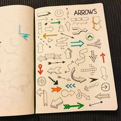 via @morganhlane on Instagram  @therevisionguide So many different ways of making arrows! #revisionguide_52wvv #52wvv_week9 #doodles #sketching #cartoons #sketchnotes #visualthinking #leuchtturm1917 #copicmarkers #kurecolor #graphgear1000