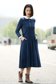 Linen Office Dress - Smart Comfortable Navy Blue Dress with White Collar & Cuffs Midi Length Work Outfit C340