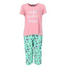 Elegant Emily Women's Plus Size Wife Mom Boss Tee and Capri Pajama Set Pajama Set, Pajama Pants, Wife Mom Boss, Plus Size Pajamas, Plus Size Fashion For Women, Soft Fabrics, Elegant, Comfy Pajamas, Capri