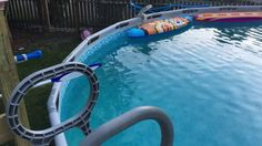 I built a deck for my Intex - Coleman pool. Pool Deck Plans, Pool Decks, Above Ground Pool, In Ground Pools, Coleman Pool, Cheap Pool, Floating Deck, Intex Pool, Pool Landscaping