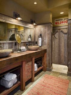 Creative Ideas, Gorgeous Rustic Wooden Wall And Stone Vessel Sink On Rustic Wooden Bathroom Cabinet Also Jute Rug On Traditional Floor Tiles In Farmhouse Bathroom: Some Steps to Remodel a Bathroom
