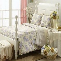 Ralph Lauren Cape Elizabeth Queen Comforter Bed In A Bag Set Lilac/Green/Cream