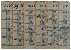 A calendar for the Jewish year 5705 (1944-1945), written by Emil Neumann in Bergen-Belsen
