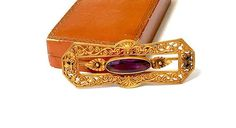 Art Nouveau Sash Brooch Victorian Gilt Pin Ornate Open Work